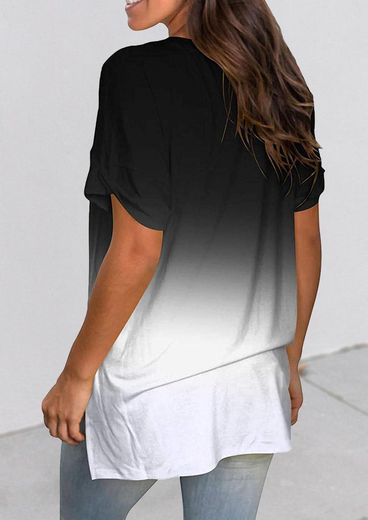 Gradient Slit V-Neck Short Sleeve Blouse - Black