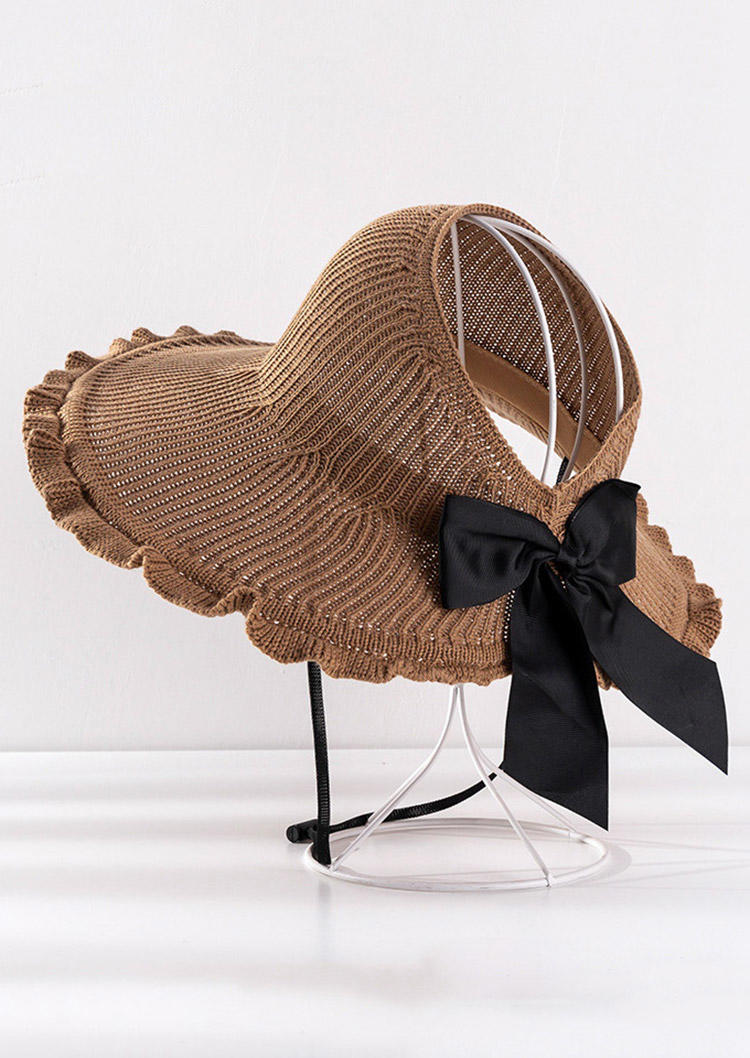 Wave Hollow Out Bowknot Rolled Up Straw Hat