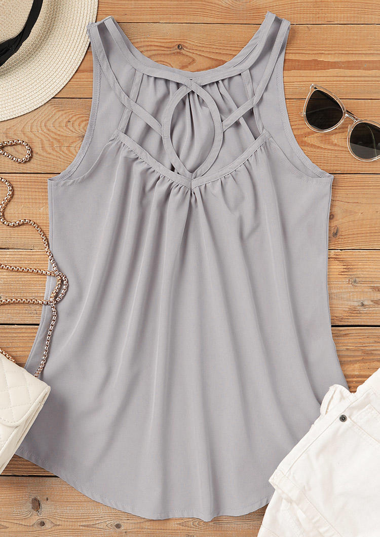 Hollow Out Ruffled Casual Tank - Gray