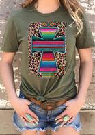 Serape Striped Cross Aztec Geometric Leopard T-Shirt Tee - Army Green