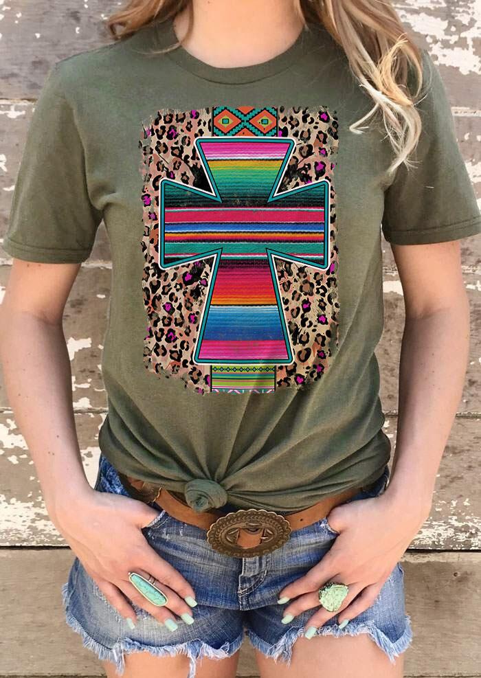 Fairyseason coupon: Serape Striped Cross Aztec Geometric Leopard T-Shirt Tee - Army Green