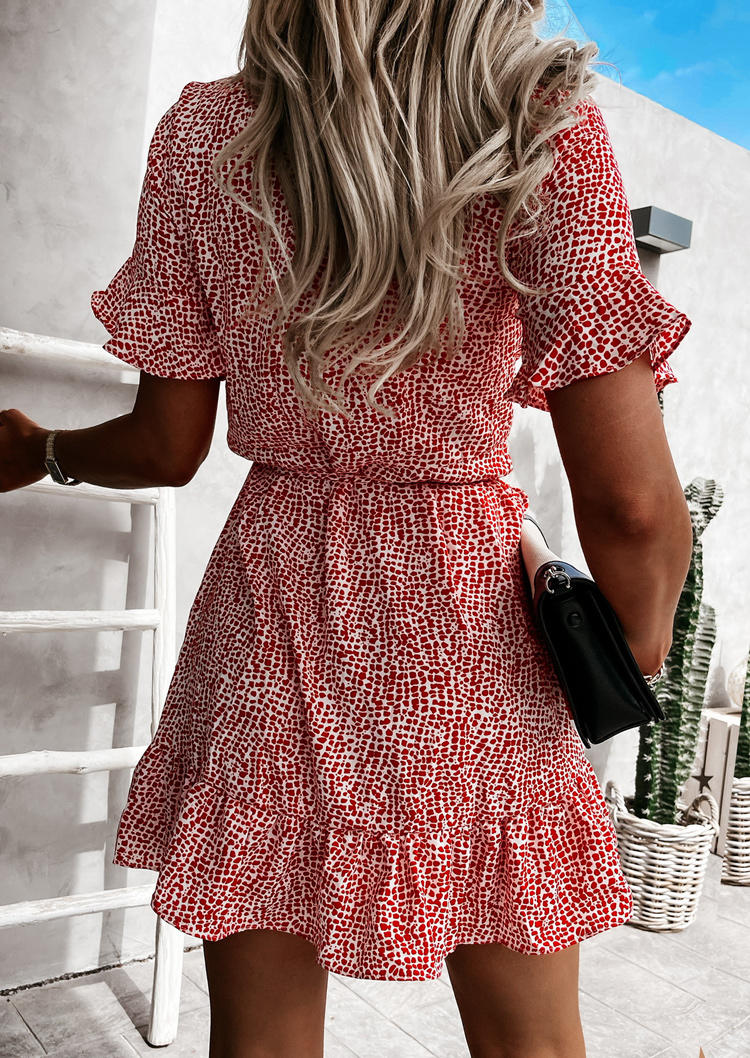 Ruffled V-Neck Flare Sleeve Mini Dress - Red
