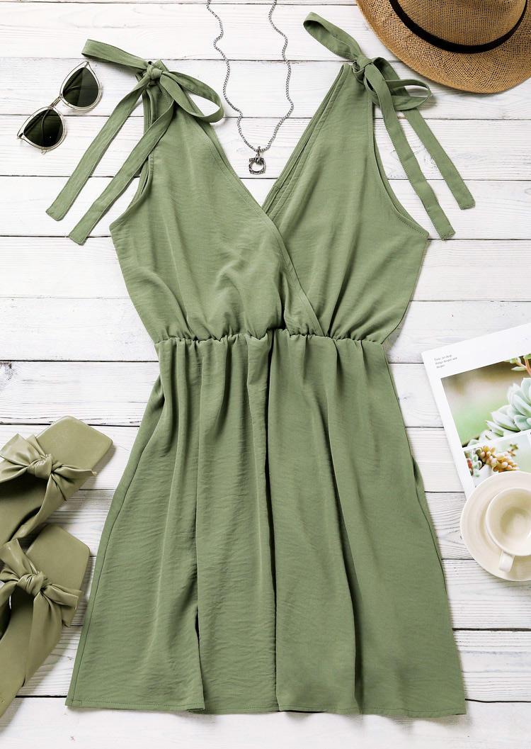 Elastic Waist Tie V-Neck Mini Dress - Green
