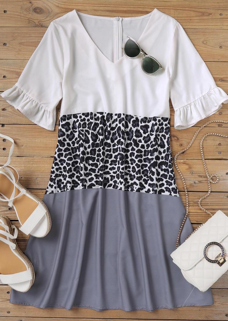 Leopard Color Block Pocket Zipper Mini Dress