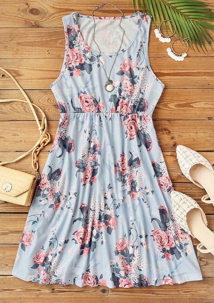 Floral Elastic Waist Sleeveless Mini Dress