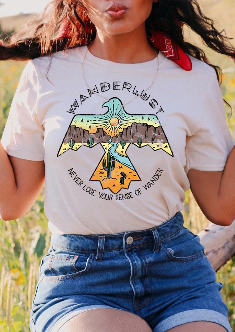 Wanderlust Thunderbird Cactus O-Neck T-Shirt Tee - White