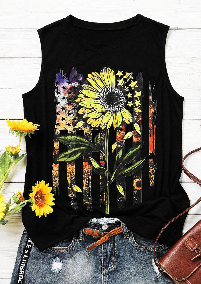 American Flag Star Striped Sunflower Tank - Black