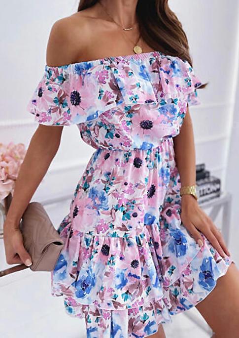 Floral Layered Off Shoulder Elastic Waist Mini Dress