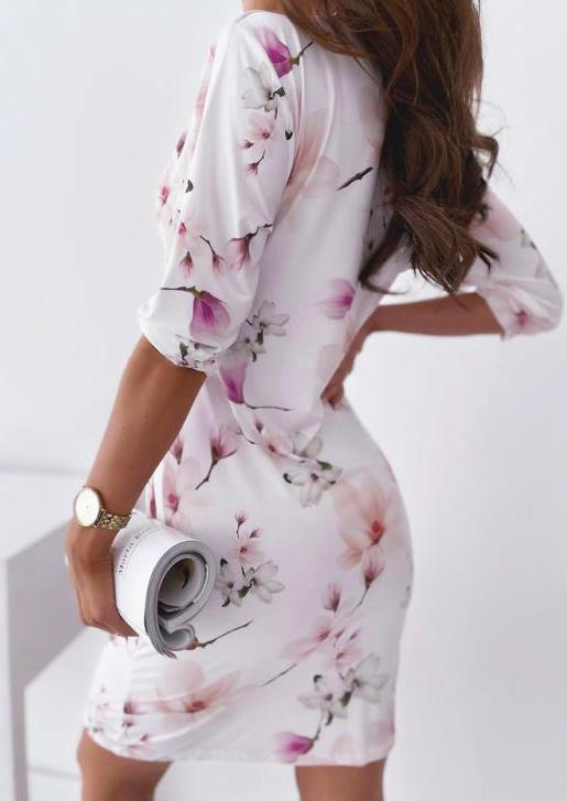 Floral Wrap Ruffled Bodycon Dress - White