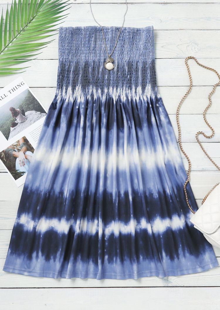 Tie Dye Smocked Strapless Mini Dress - Blue