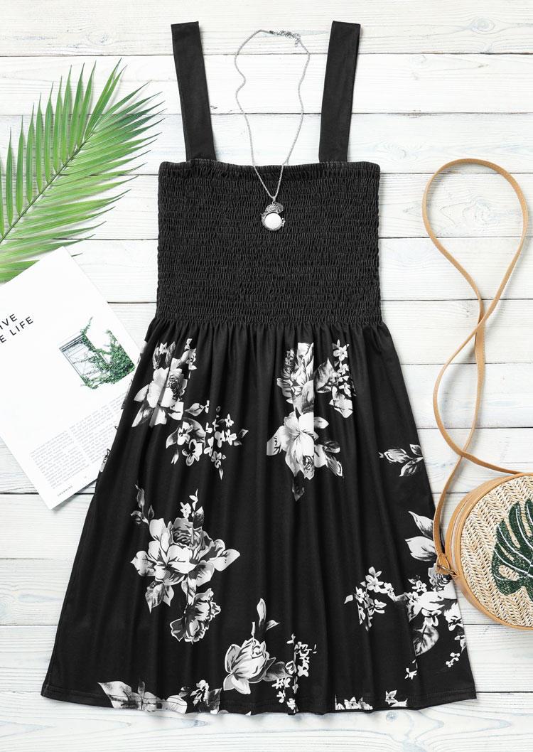 Floral Smocked Waist Spaghetti Strap Mini Dress - Black