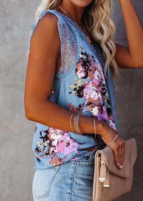 Floral Lace Splicing V-Neck Tank - Blue