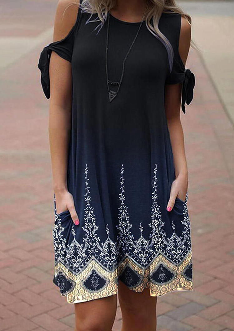 Geometric Cold Shoulder Pocket Mini Dress