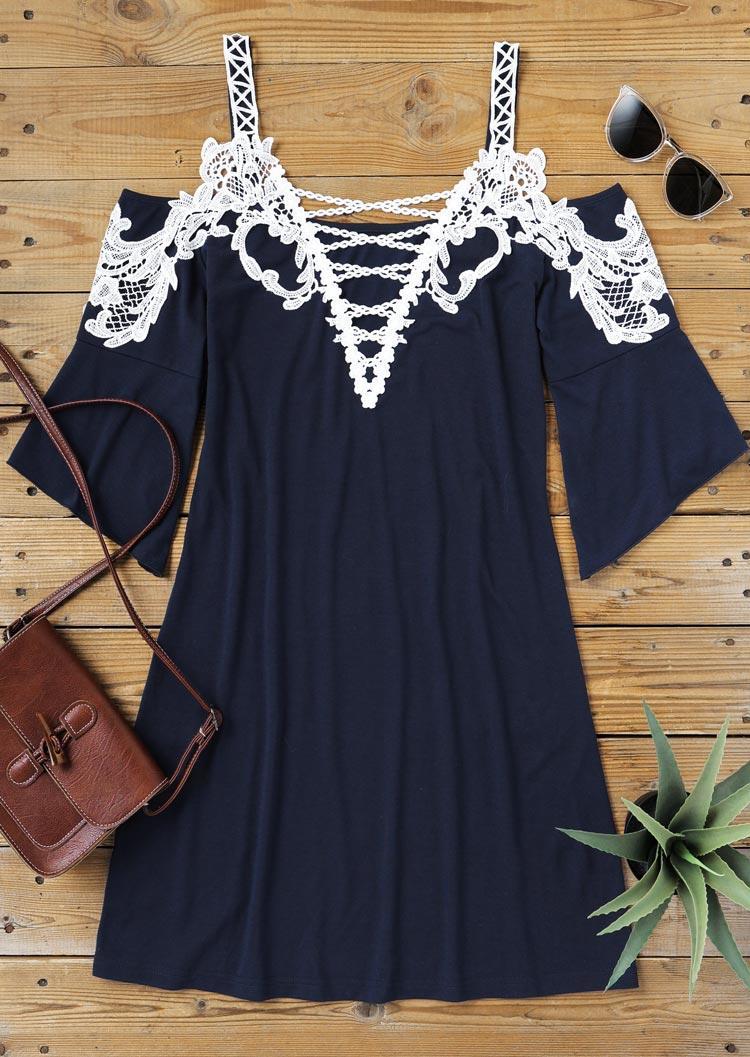 Lace Criss-Cross ColdShoulder Mini Dress - Navy Blue