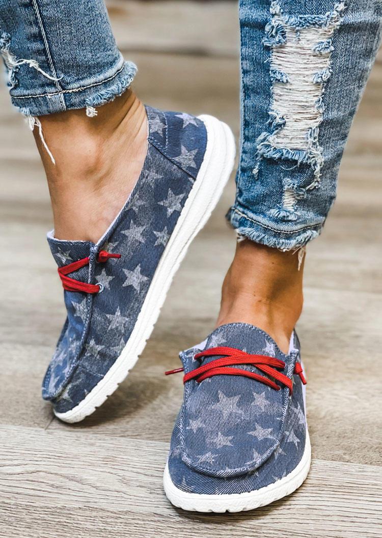 Star Slip On Round Toe Flat Sneakers - Blue