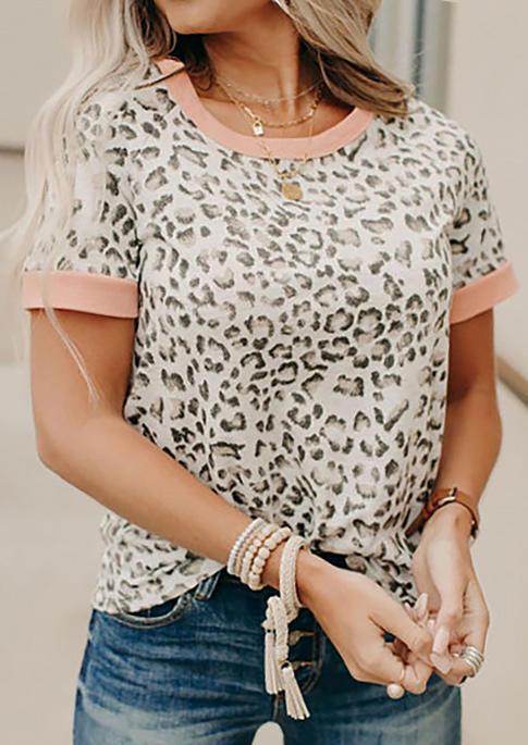 Leopard O-Neck Short Sleeve T-Shirt Tee