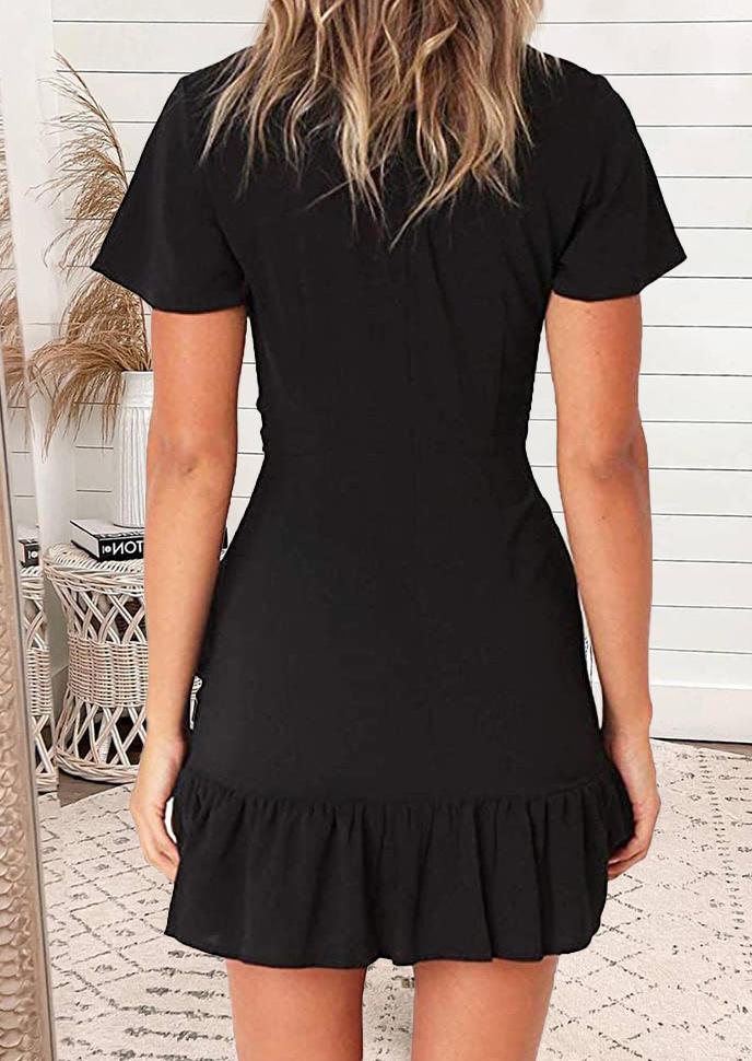 Ruffled Wrap V-Neck Casual Mini Dress - Black