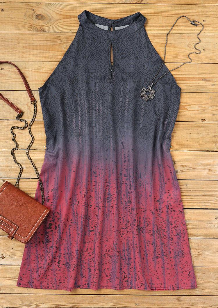 Gradient Cut Out Halter Sleeveless Mini Dress