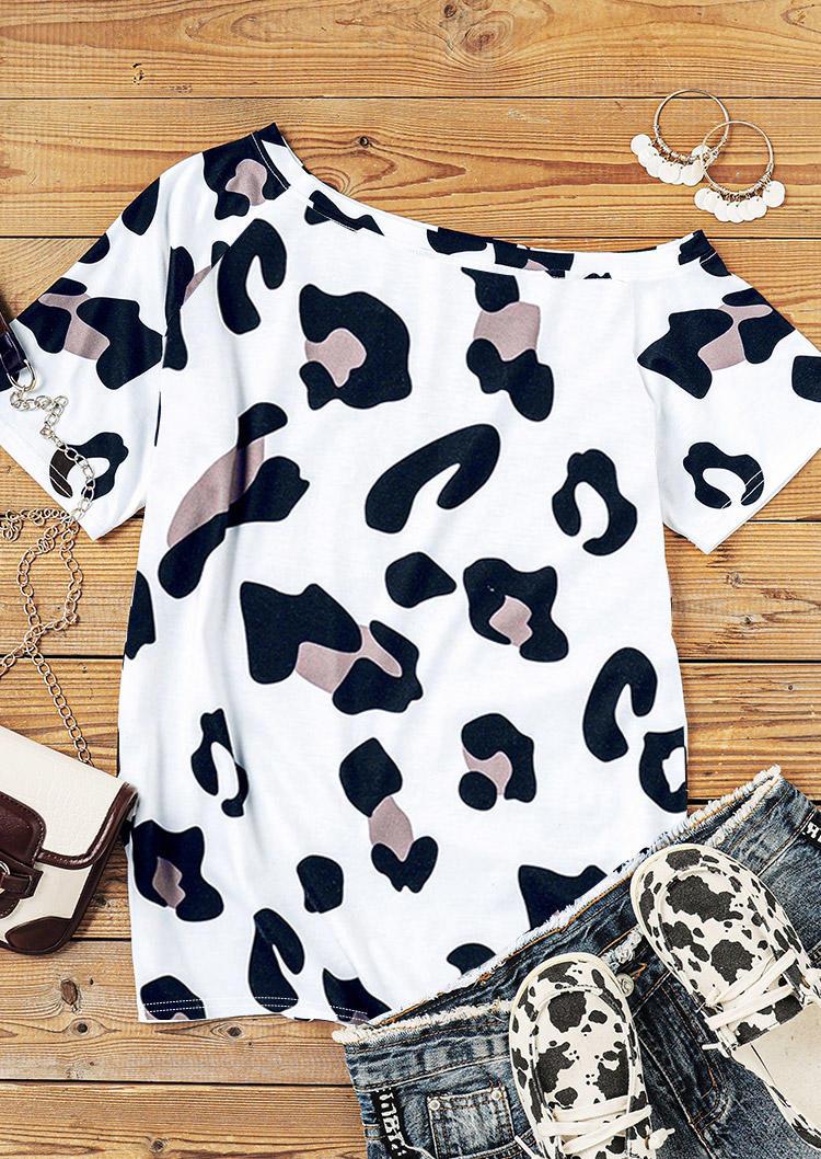 Leopard Slash-Neck Blouse - White