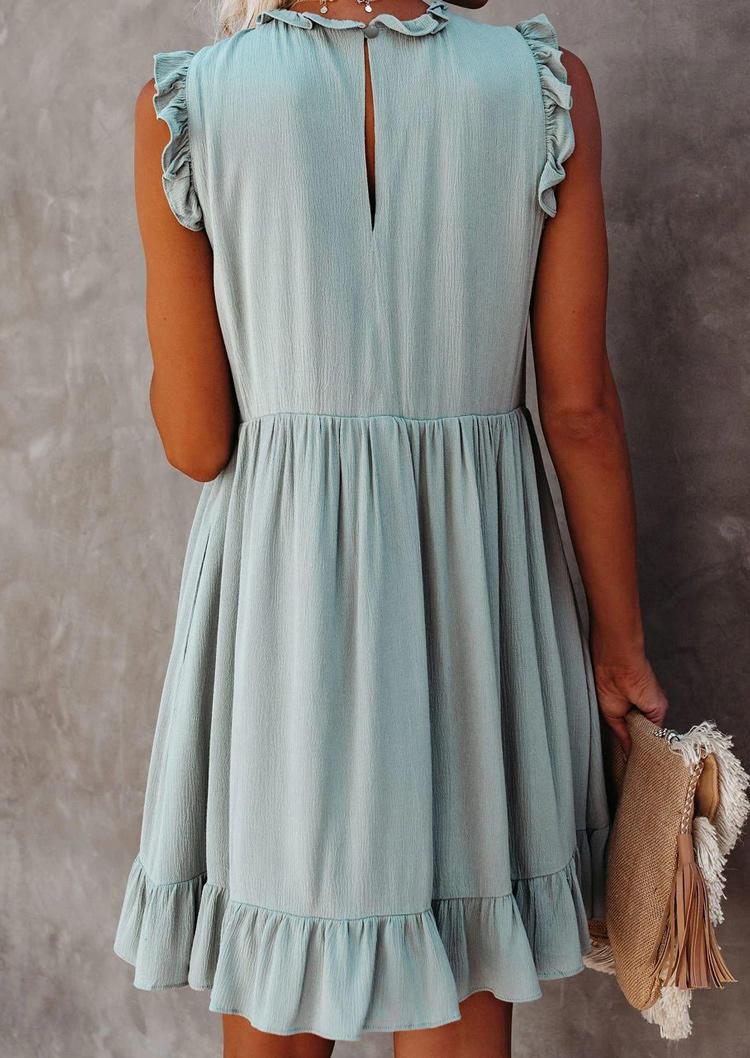 Ruffled Hollow Out Button Mini Dress - Light Green