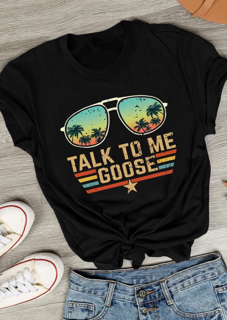Talk To Me Goose Coconut Tree Glasses T-Shirt Tee - Black