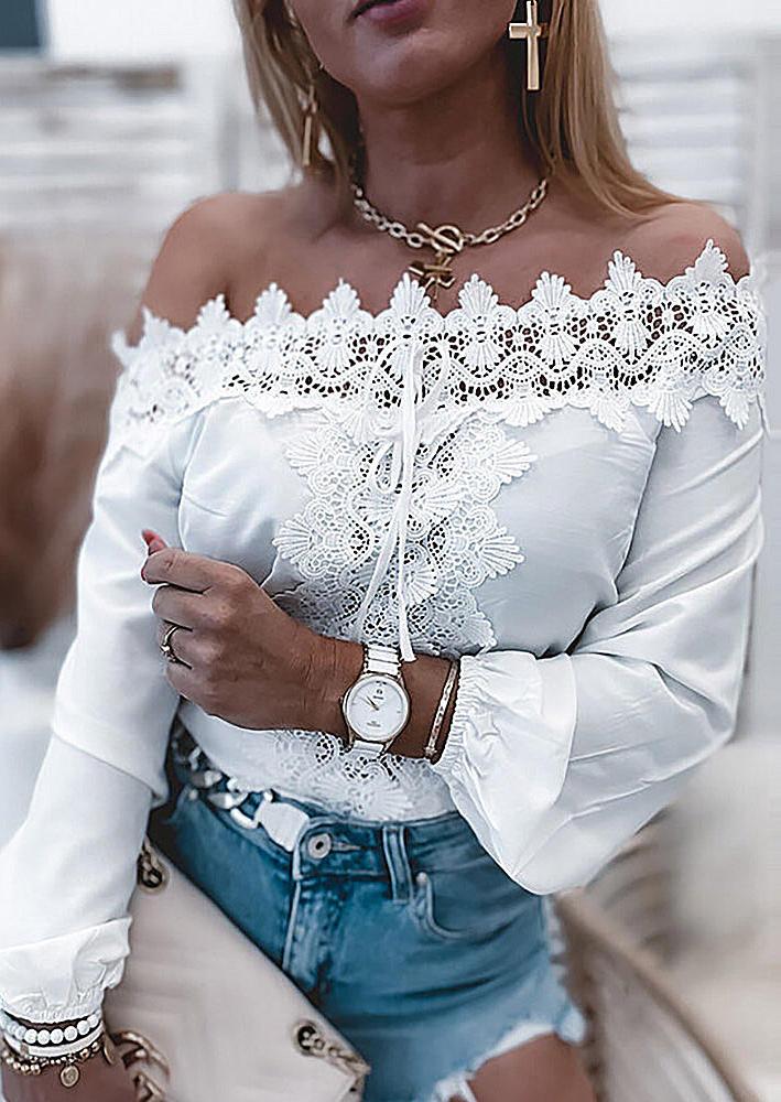 Floral Lace Off Shoulder Elastic Cuff Blouse - White
