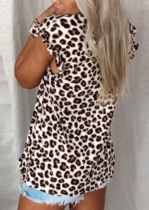 Leopard Ruffled O-Neck Casual Blouse