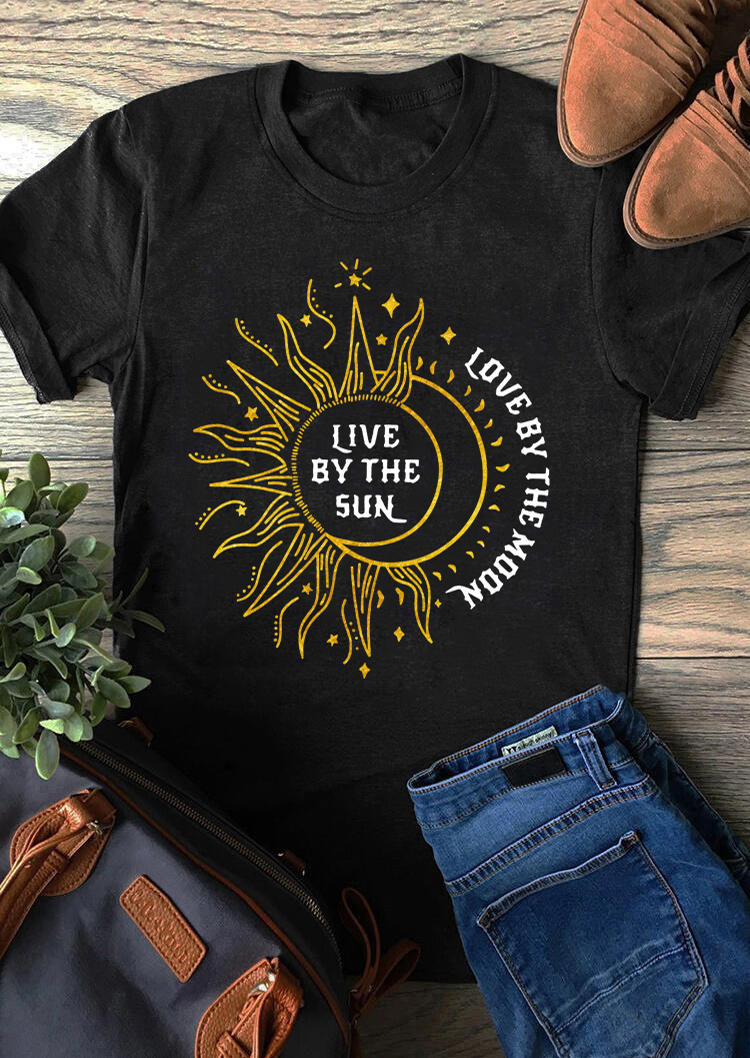 Live By The Sun Love By The Moon Star T-Shirt Tee - Black