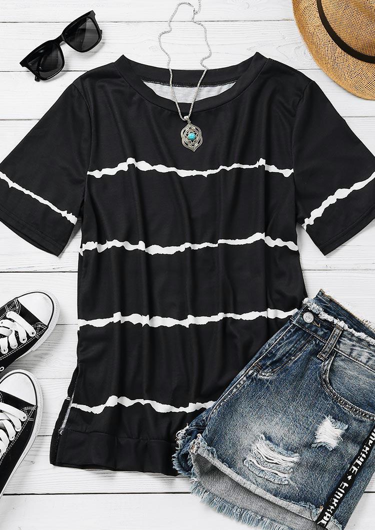 Striped Tie Dye O-Neck Casual Blouse - Black