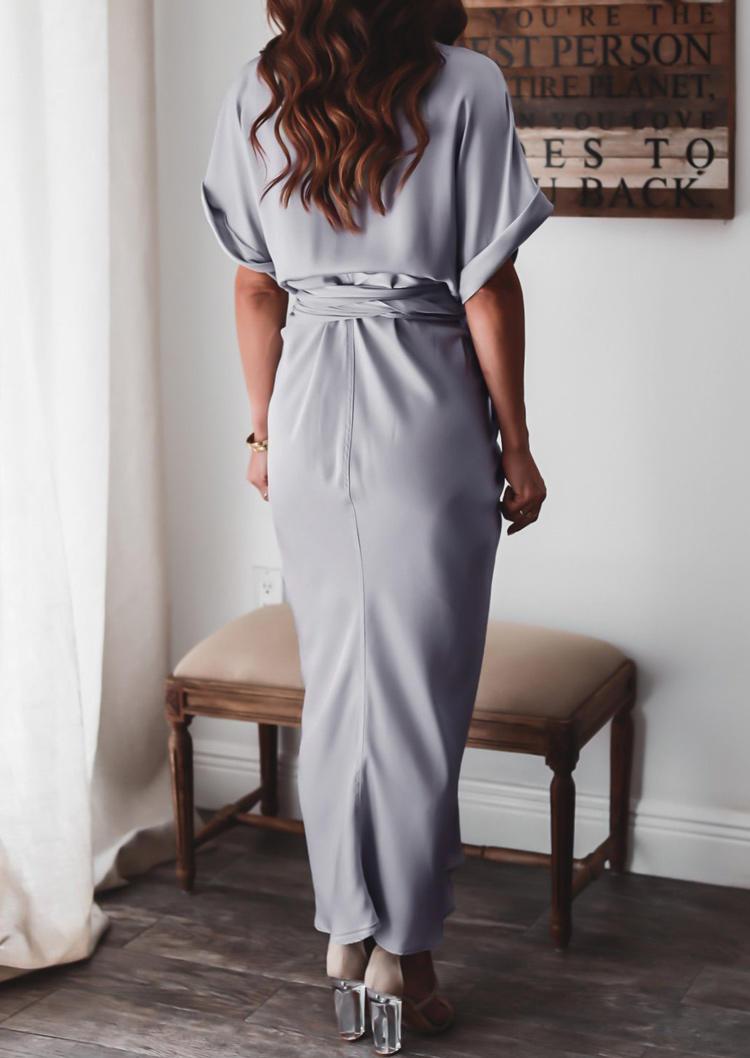 Ruffled Button Tie Maxi Dress - Light Grey