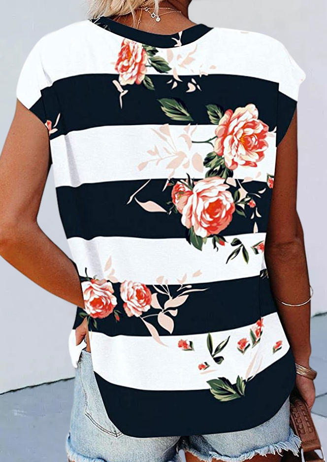 Striped Floral O-Neck Casual Blouse