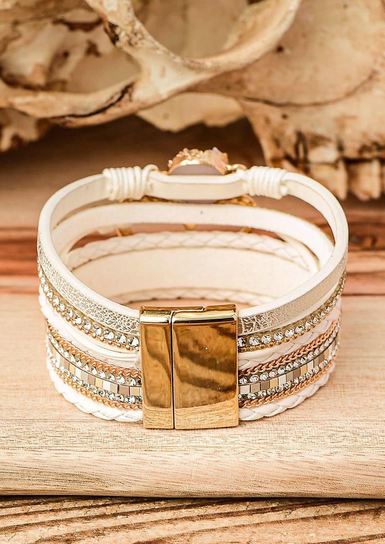 Heart Rhinestone Leather Bracelet
