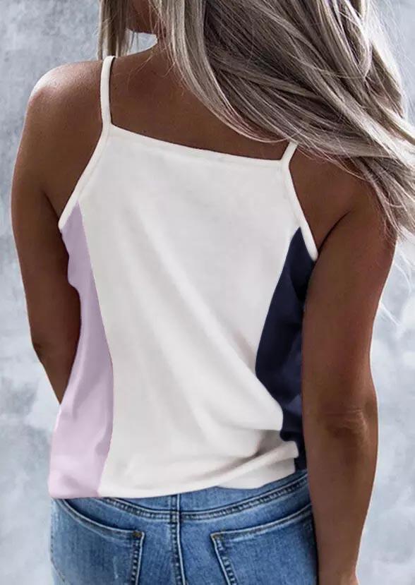 Color Block American Star V-Neck Strap Camisole
