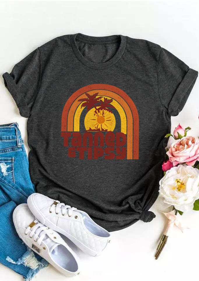 Tanned & Tipsy Palm Tree O-Neck T-Shirt Tee - Dark Grey
