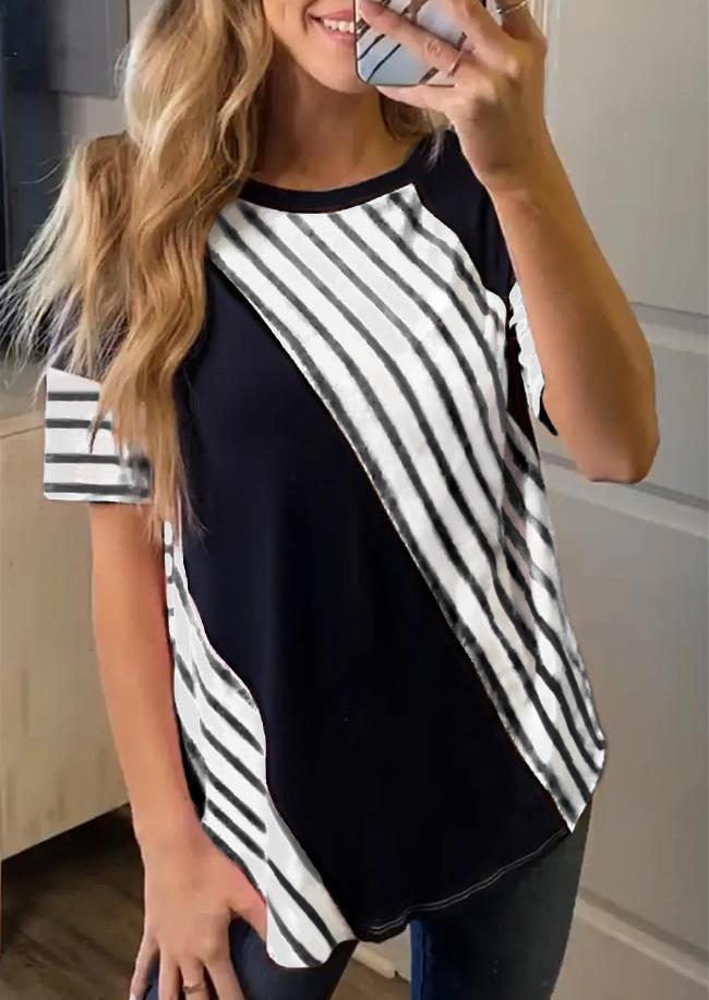 Striped O-Neck Short Sleeve Blouse