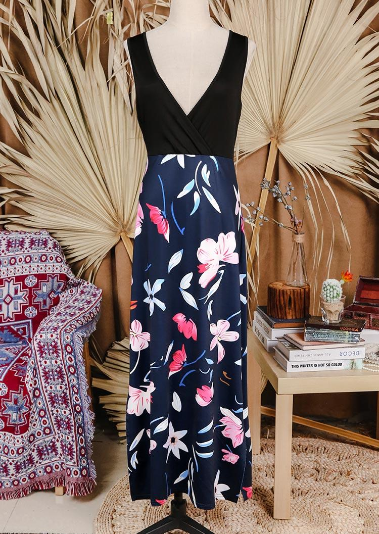Floral Slit Sleeveless Deep V-Neck Maxi Dress