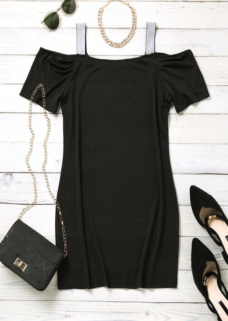 Cold Shoulder Square Collar Bodycon Dress - Black