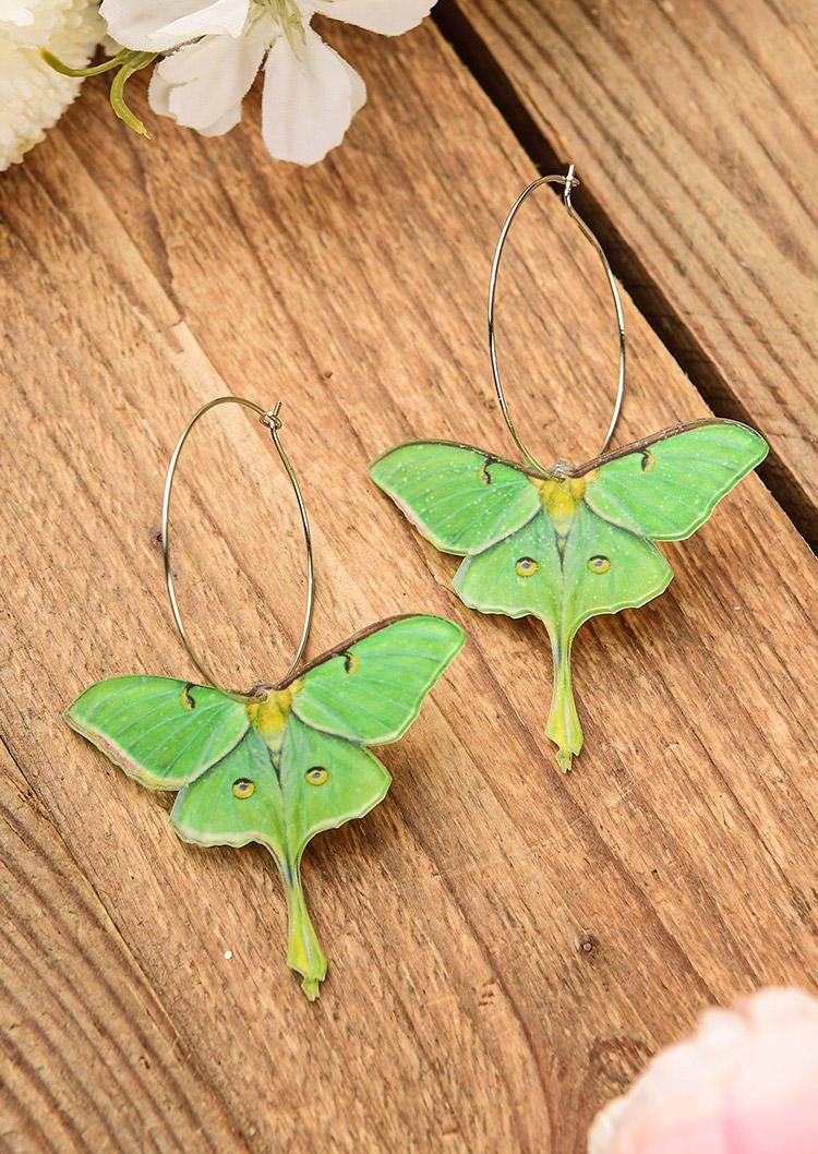 Simple Large Circle Moth Hoop Earrings