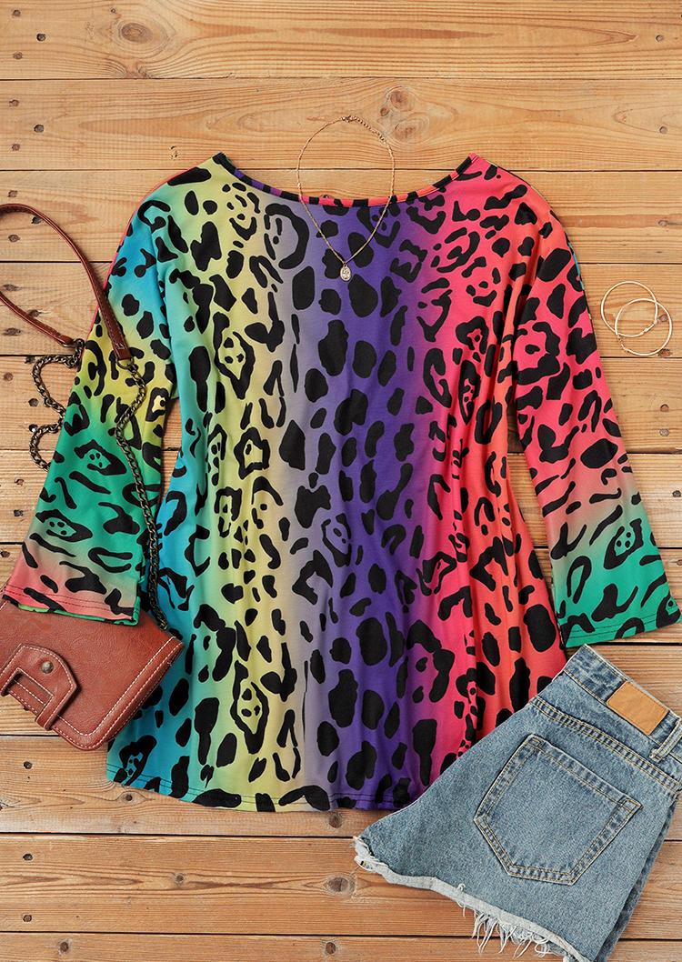 Colorful Leopard Gradient Loose Blouse