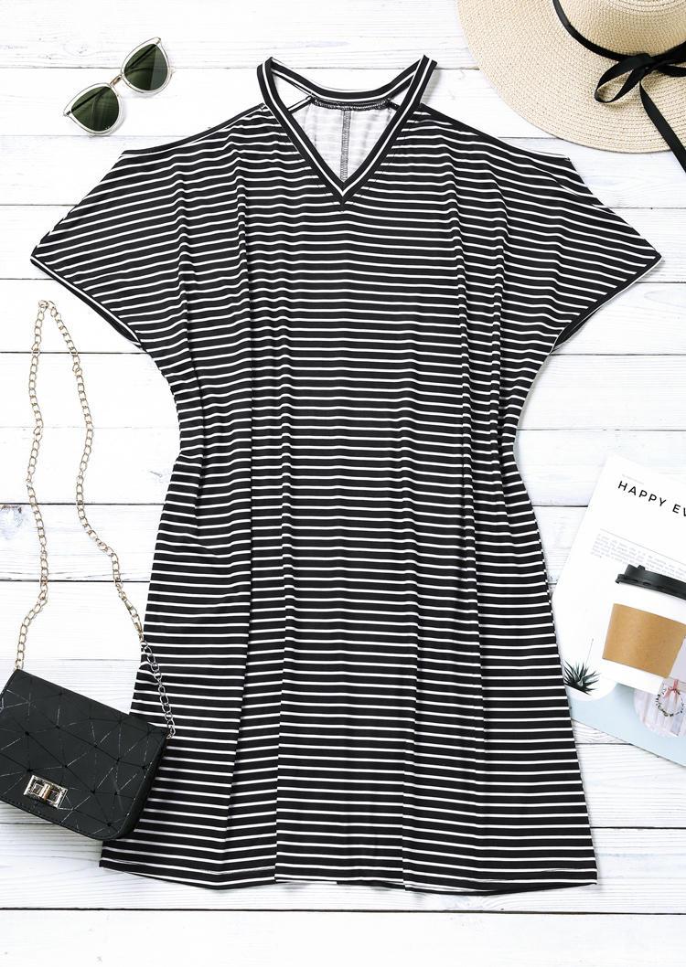 Striped V-Neck Cold Shoulder Mini Dress