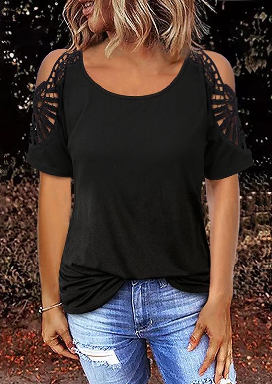 Lace Cold Shoulder O-Neck Blouse - Black