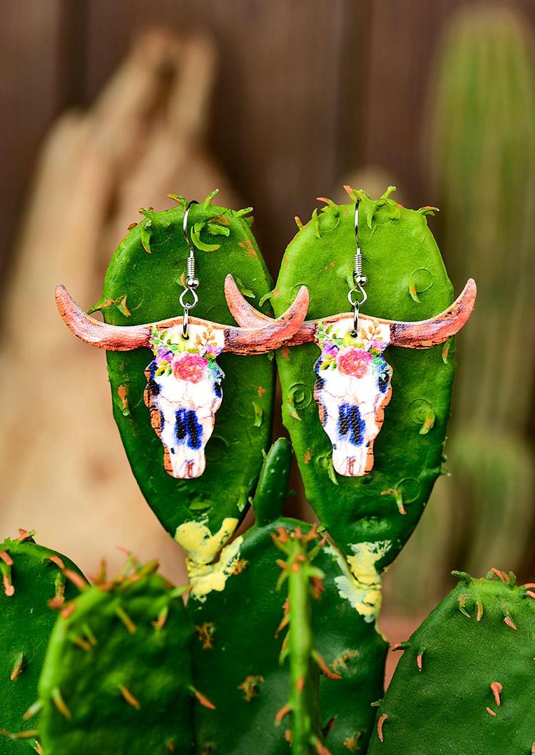 Steer Skull Cactus Floral Earrings