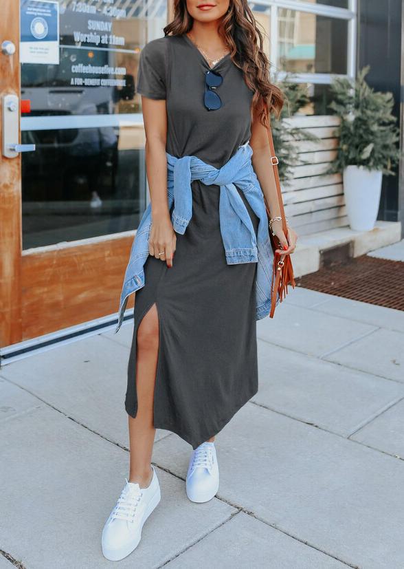 Slit Twist O-Neck Maxi Dress - Dark Grey
