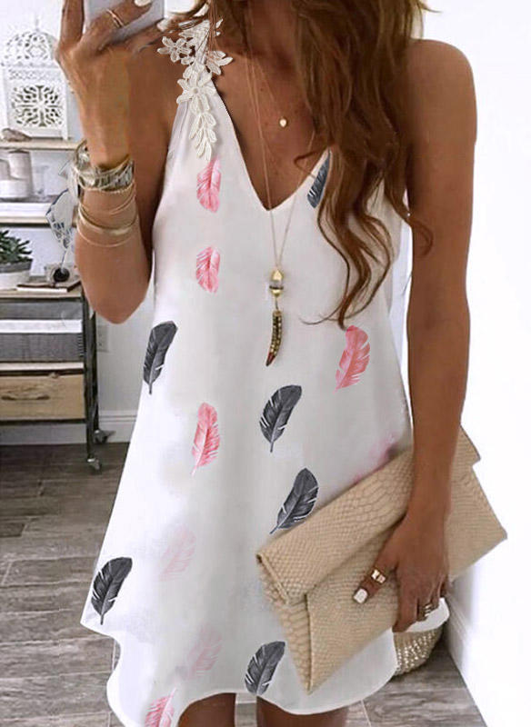 Feather Lace Splicing V-Neck Mini Dress - White