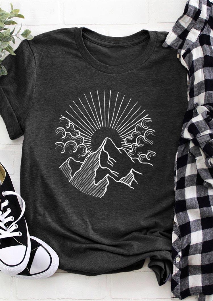 Sunset Mountain O-Neck T-Shirt Tee - Dark Grey