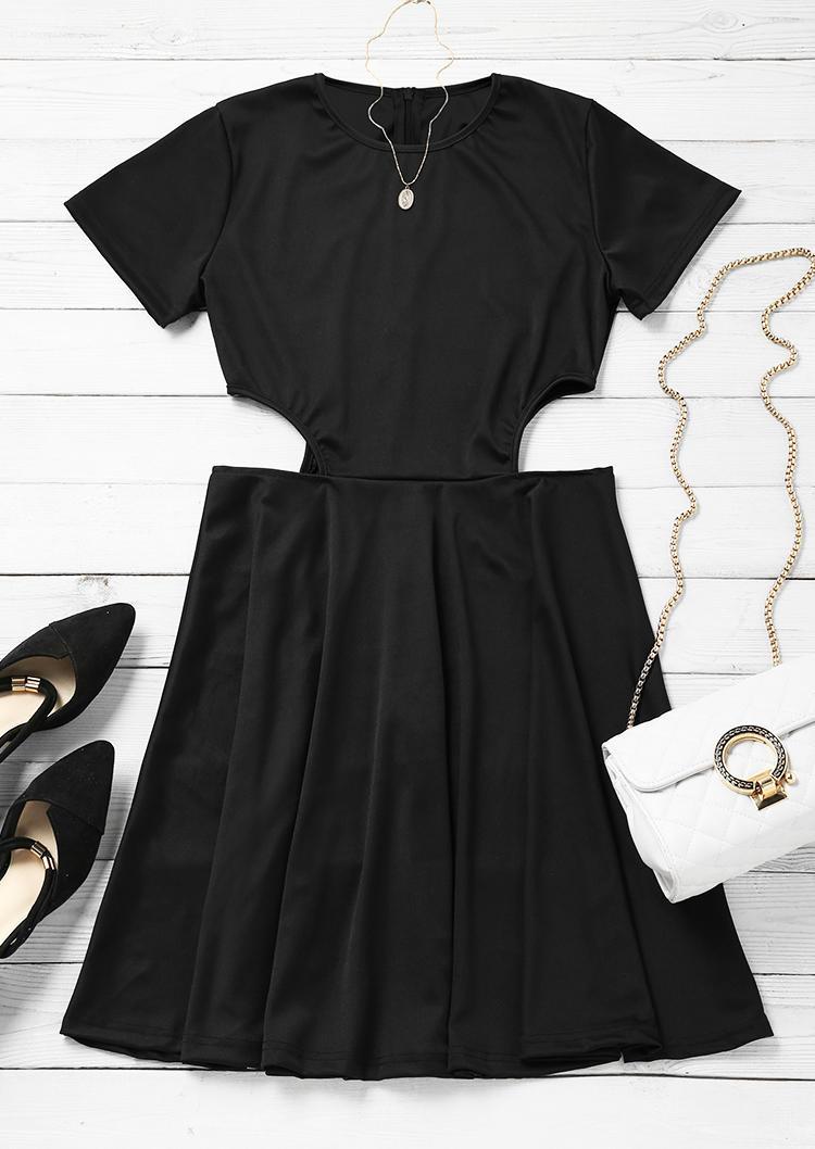 Hollow Out ShortSleeve Mini Dress - Black