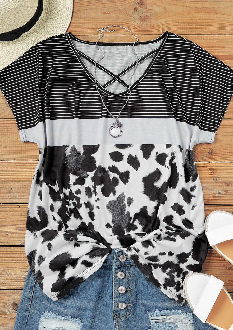Criss-Cross Striped Cow Casual Blouse - Black