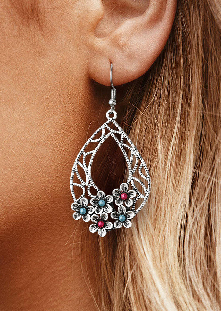 Vintage Floral Hollow Out Water Drop Earrings