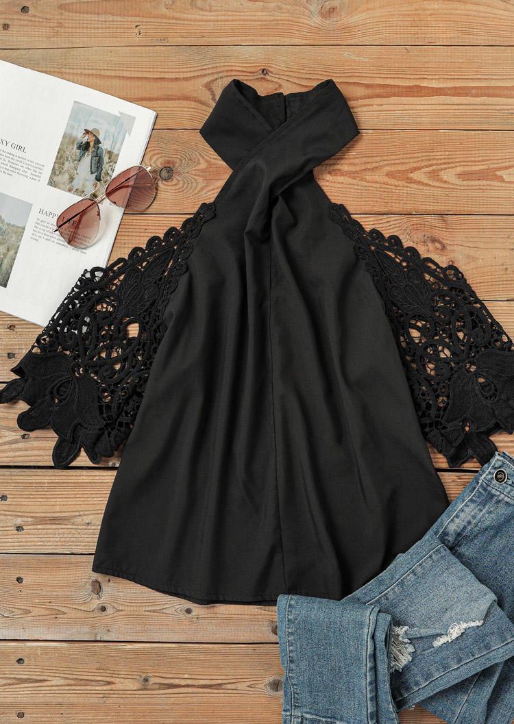 Lace Cold Shoulder Halter Blouse - Black