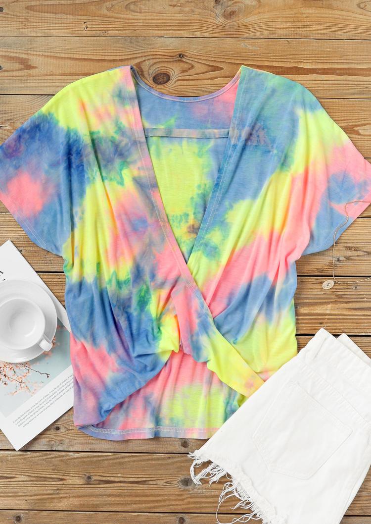 Tie Dye Open Back Twist Blouse